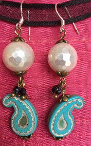 Pearlsand paisley earrings