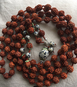 Japa mala with Dalmation jasper beads