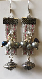 Fabric and bunch o' pearls earrings