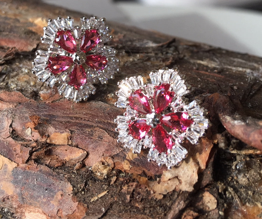 Pink and clear crystal stud earrings