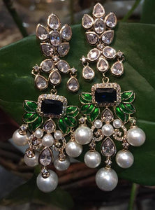 Crystal and pearls long dangly earrings