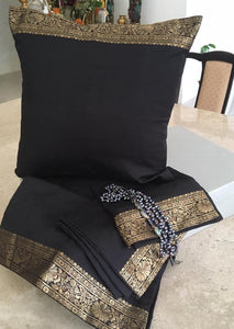 Black silk brocade cushion covers ( set of 5)