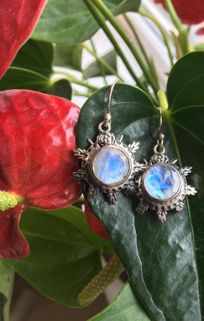 Moonstone and sterling silver drops