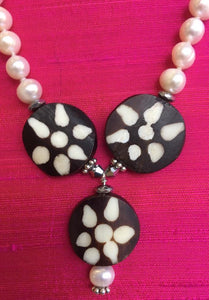 White freshwater pearls with bone beads