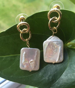 Square freshwater pearl earrings
