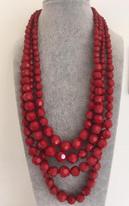 Multistrand acrylic beads necklace in blood red