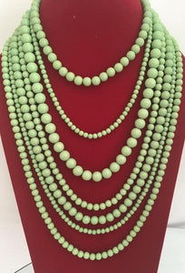 Multistrand necklace in mint green