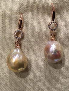Large cultured pearl rose gold earrings
