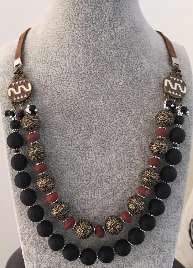 Red jasper and black agate beads multstrand necklace
