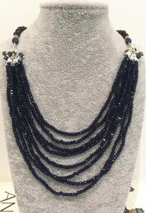 Multistrand sapphire blue beads necklace