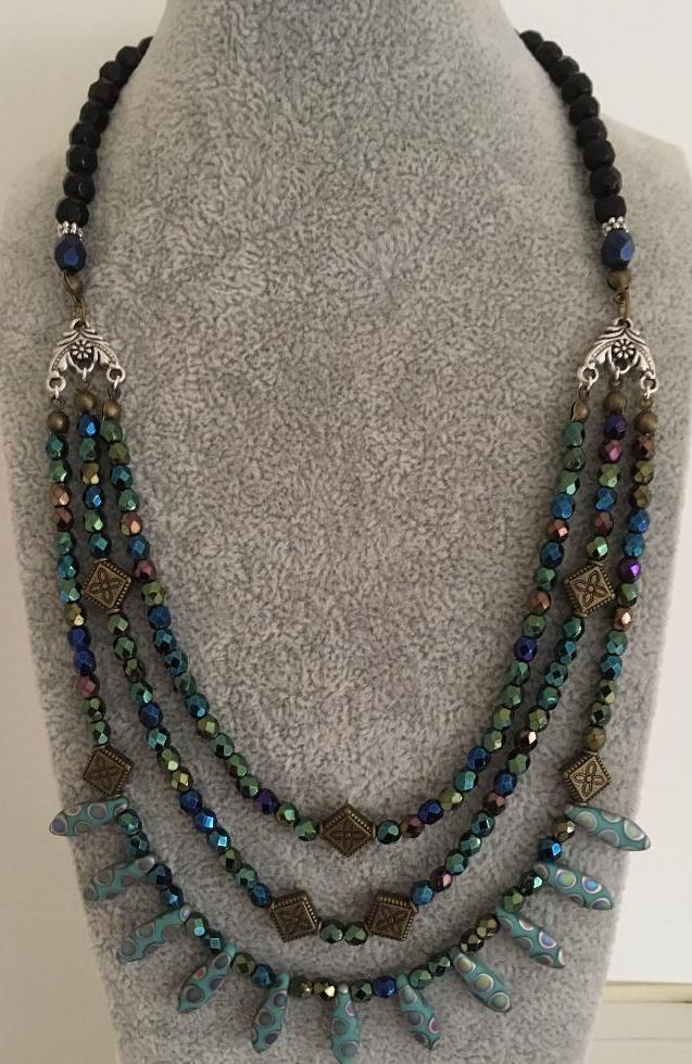 Multistrand necklace in hues of blue