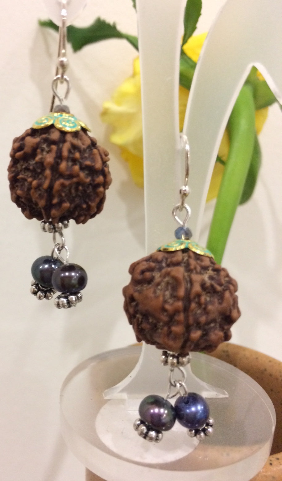 Rudraksha bead earrings
