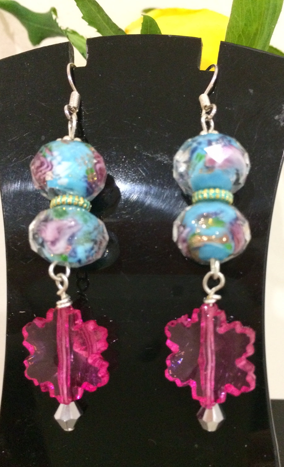 Blue and pink floral lamp work earrings