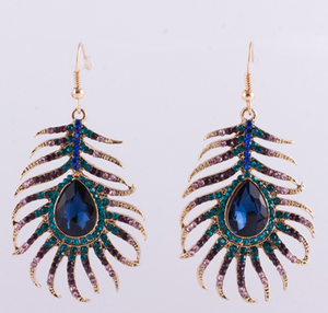 Large dangly peacock feather earrings