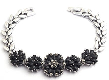 Alloy and black crystals bracelet