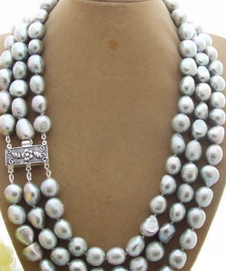 3 strand silver pearl necklace