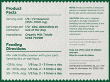 Milk Thistle Powder for Small and Medium Dogs - Certified Organic