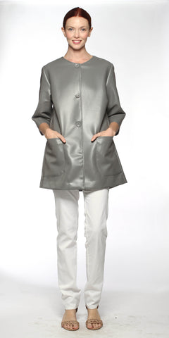Stone Collarless Vegan Coat