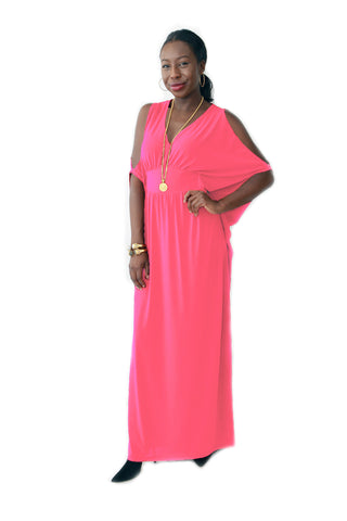 Coral Cold Shoulder Maxi Dress (Plus Sizes Available)