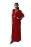 RED COLD SHOULDER CAFTAN MAXI  (Missy & Plus Sizes Available)