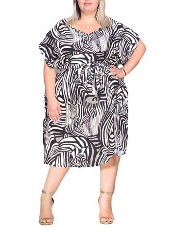 Pewter Zebra Tie Dress (Plus Sizes Available)