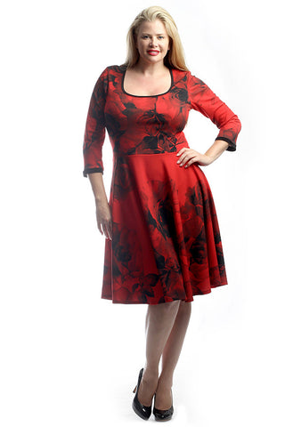 Scarlet Rosette Scoop Neck Fit and Flare (Plus Sizes)