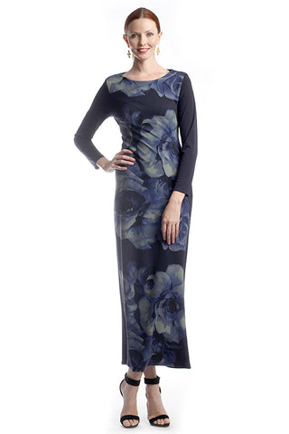 Navy textured floral maxi