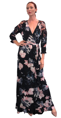 Class Floral Luxe Jersey Faux Wrap Maxi dress with Appliques at shoulders and Ruffle Hem Detail