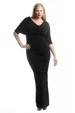 Black One Shoulder Ruched Dress (Plus Sizes)
