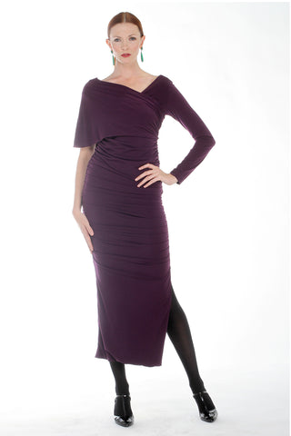 Plum Wine One Shoulder Ruched Dress (Missy Sizes)