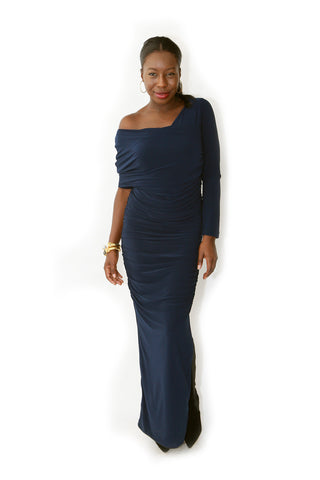 Navy One Shoulder Ruched Dress