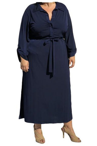 Navy Long Sleeve Shirt Dress(Plus Sizes Available)