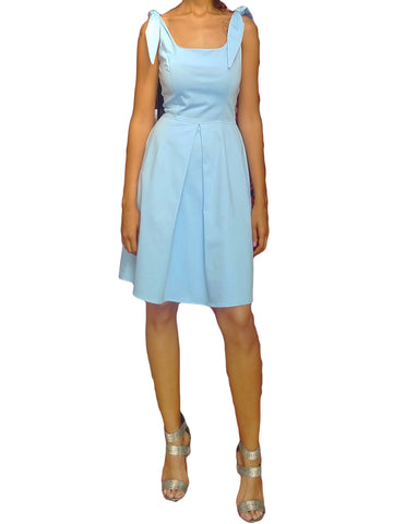 BABY BLUE PLEATED TIE SLEEVE DRESS (PLUS SIZES AVAILABLE)