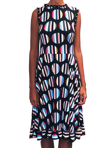 Sleeveless Fit& Flare Dress with ruffle detail on hem and tie back of neck Striped Dot Print