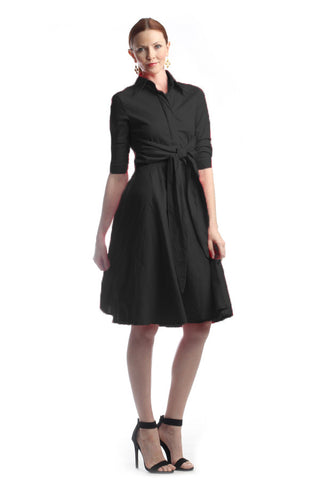 Black Cotton Shirt Dress (Missy Size)