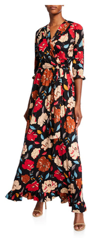 BLACK POPPY Print maxi dress