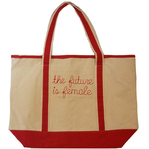 Red Future is Female Tote Bag  ***OTHER PHRASES & COLORS AVAILABLE