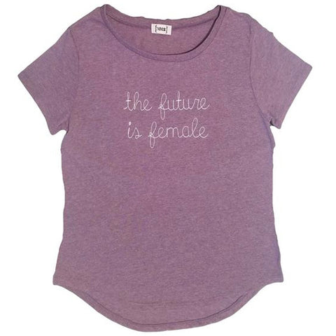 """The Future is Female"" Short Sleeve comfy T-shirt LILAC w. WHITE EMBROIDERY"
