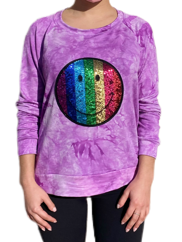 Tie Dye French Terry Smiley Face Sequins Patch Sweatshirt