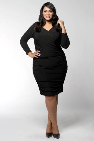 Asymmetric Ruched Dress (Missy and Plus Sizes Available)