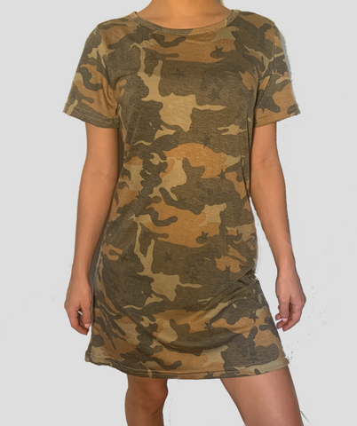 Short Sleeve T-Shirt Dress Camouflage print