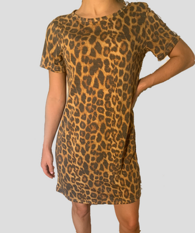 Short Sleeve T-Shirt Dress Leopard