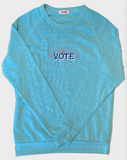 VOTE embroidered organic sweatshirt in pale pink