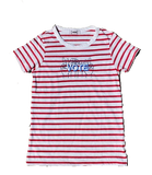 VOTE embroidered striped classic t-shirt