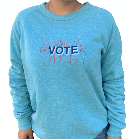 VOTE embroidered organic sweatshirt in heathered turquoise