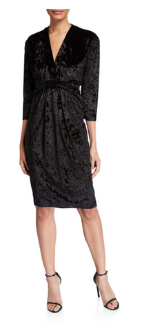 Black Crushed Velvet Knot Detail Dress