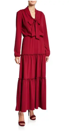 Red Pear Tie Neck Full Length Dress