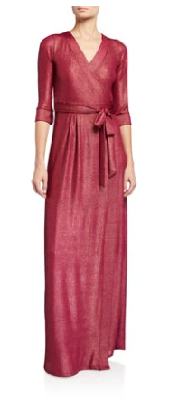 Classic Maxi Wrap Dress in raspberry lurex rib jersey