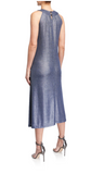 Classic Bib Neck Midi Dress in blue lurex sparkle rib jersey