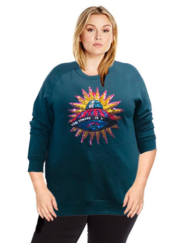 Teal Spaceship sweatshirt